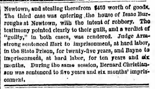 Hart arraignment Dec 1869 Part 2 - Newtown, and stealing therofrom $4B0 worth of...