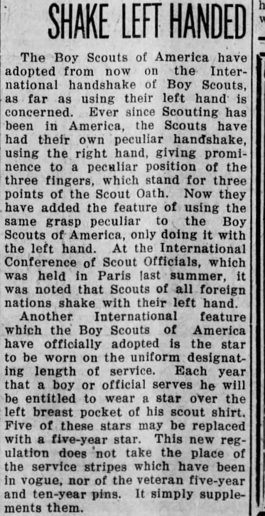 Feb 10, 1923 - ' The Boy Scouts of America have adopted from...