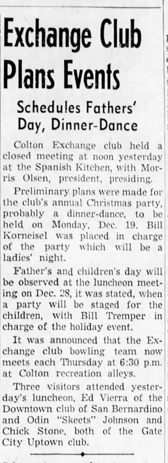 1949 Dec 8 Bill Korneisel in charge of party-Christmas Party - Exchange Club Plans Events Schedules Fathers'...