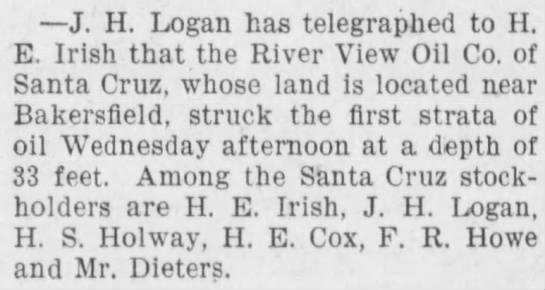 1900 Mar 15 - H E Irish - Evening Sentinel - Struck Oil - J. H. Logan has telegraphed to II. E. Irish...
