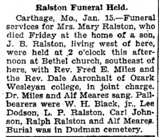 Ralston, Mary funeral news Joplin Globe 16Jan1929
