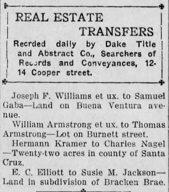 Charles Nagel Land - REAL ESTATE TRANSFERS Recrded daily by Dake...