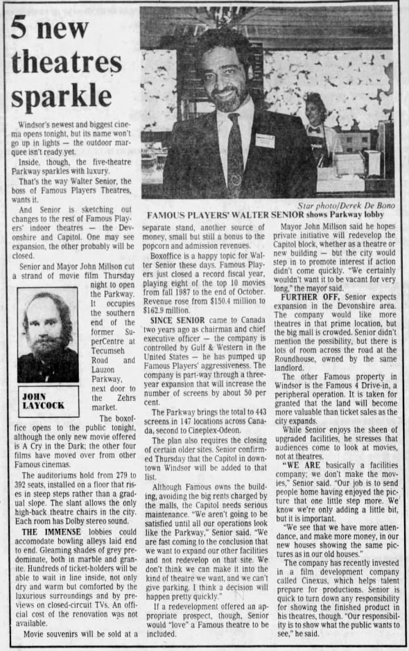 Famous Players Parkway opening article