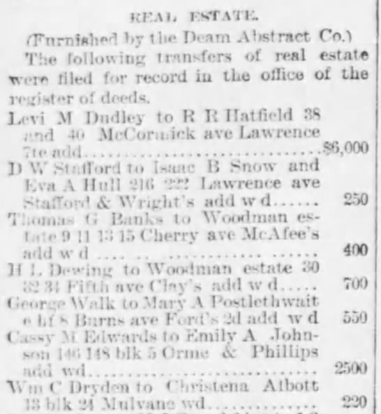 R. R. Hatfield buys real estate  Eagle 16 Sept 1890 - KKAIj KKTATI2. (Furnished by the Deam Alwtract...