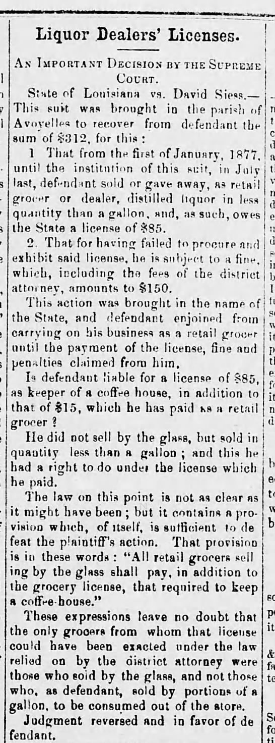Siess, David - cleared - 1878 - Liquor Dealers' Licenses. AN IMPORTANT DECISION...