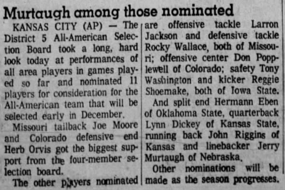 1970.10.08 Murtaugh an All-America nominee