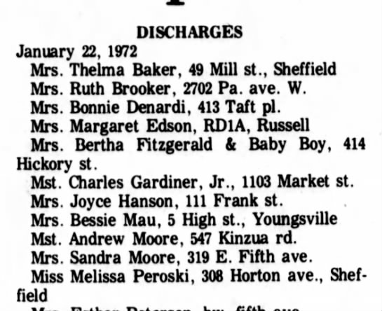 1/24/1972 bonnie denardi - DISCHARGES January 22, 1972 Mrs. Thelma Baker,...