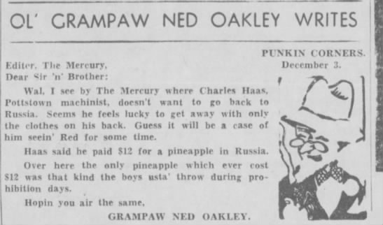 Haas in Russia - OL' CRAMPAW NED OAKLEY WRITES Editor, The...