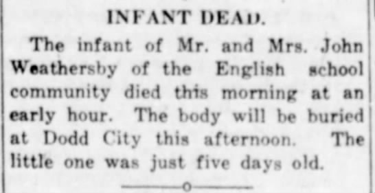 Infant son of John and Esther Weathersby dead - Bonham Daily Favorite - Jun. 19, 1918 - INFANT DEAD. The infant of Mr. and Mrs. John...
