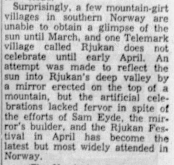 Early efforts by Sam Eyde to reflect sunlight into Rjukan
