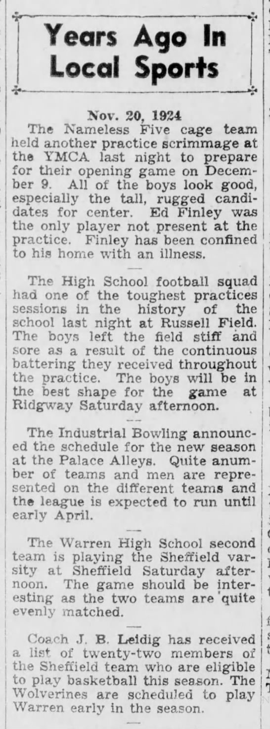 New Sheffield BB Coach, J.B. Leidig - Years Ago In Local Sports Nov. 20, 1924 The...