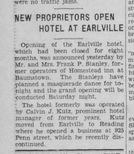 Pottstown Paper, 1934 - were no traffic jams. NEW PROPRIETORS OPEN...