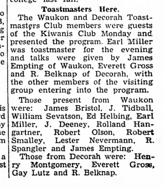 1953 Toastmasters Postville Herald 2.25.1953 - is a Toastmasters Here. The Waukon and Decorah...