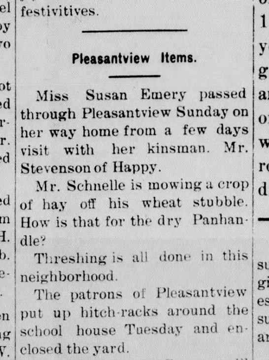 Susan Emery Visit - festivitives. H. j put up Pleasantview Items. 1...