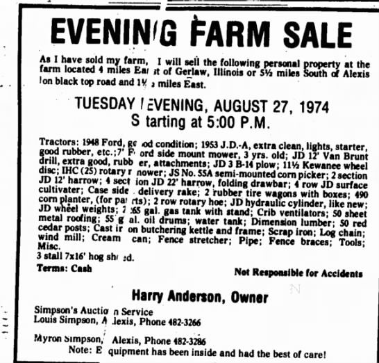Simpson's Auction Listing Aug 27, 1974
