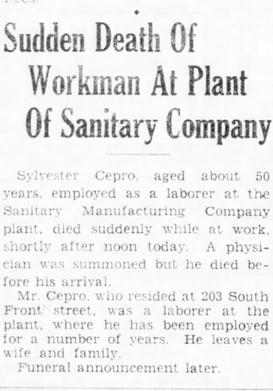 sudden death of workman at plant of sanitary company - Sudden Death Of Workman Ai Plant Of Sanitary...
