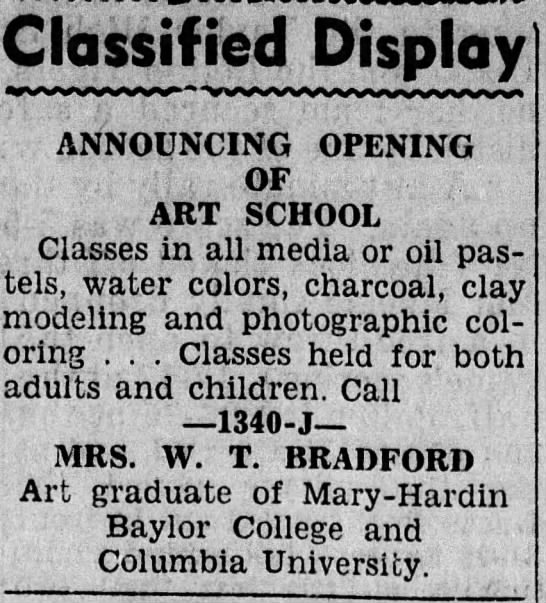 Elizabeth Elaine Clark Bradford - Classified Display ANNOUNCING OPENING OF ART...