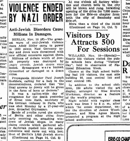 The Sandusky Register (Sandusky, Ohio) 11/11/38 pg.1 - E. final the but asking treatment opened Nov....