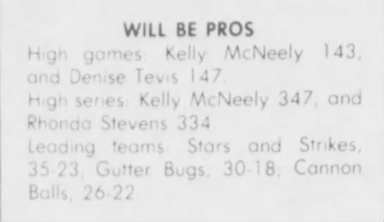 Pee Wee Bowling - WILL BE PROS Hgh gonies Kelly McNeely 143, and...