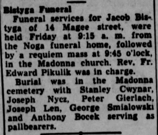 12/4/1948 - Bitty as Funeral Funeral servleos for Jacob...
