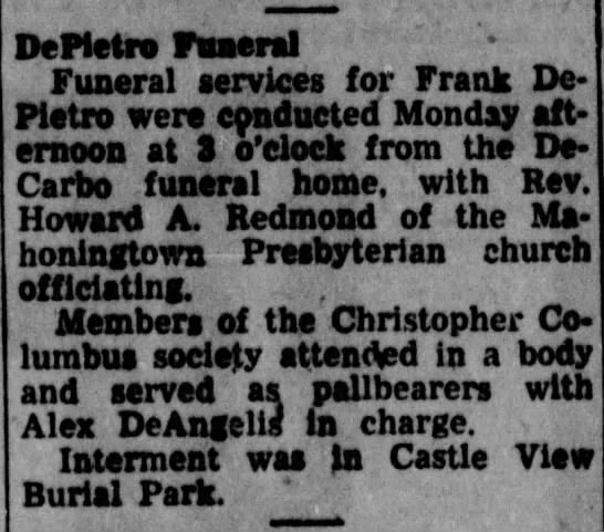 Frank DEPIETRO Obituary-2 - _ ernoon at a De Pietro Funeral Funeral...
