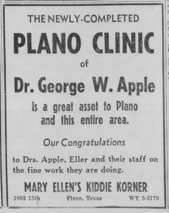 kiddie korner - THE NEWLY-COMPLETED PLANO CLINIC of Dr. George...
