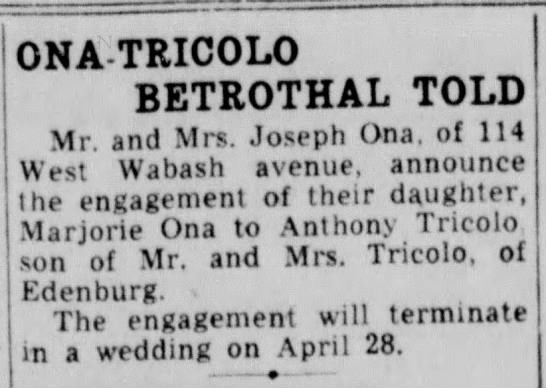ona tricolor betrothal told - margie - ONA TRICOLO ! BETROTHAL TOLD Mr. and Mrs....