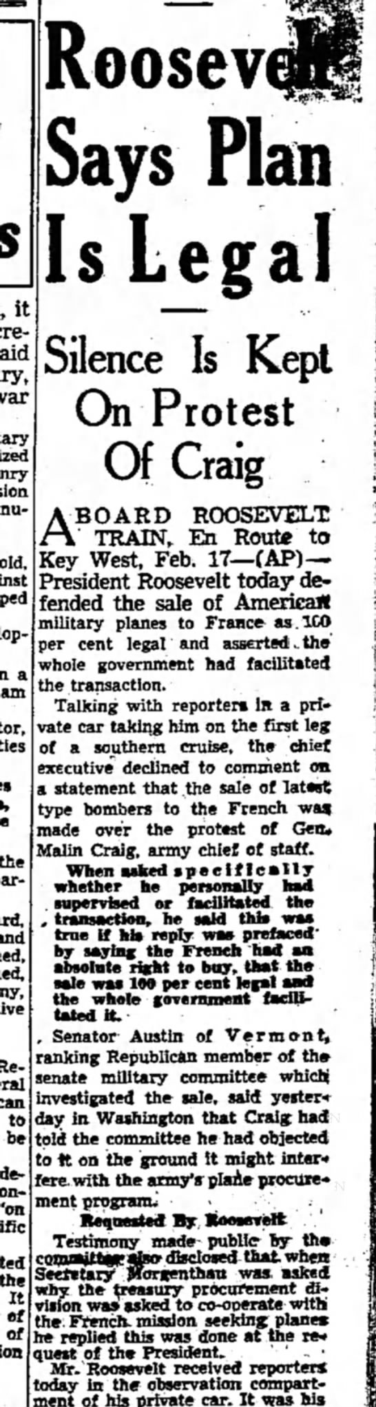 Roosevelt on planes to France.