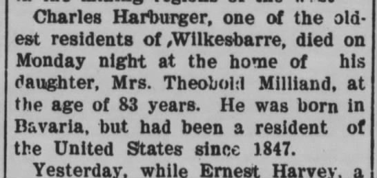 Hauburger 7 Dec 1904 - Charles Harburger, one of the old est residents...