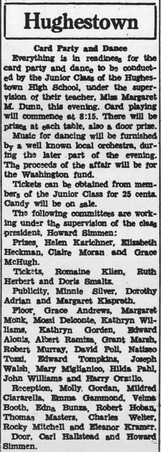 Pittston Gazette, 1 MAR 1934, p. 7 - Hughestown Card Party and Dance Everything is...