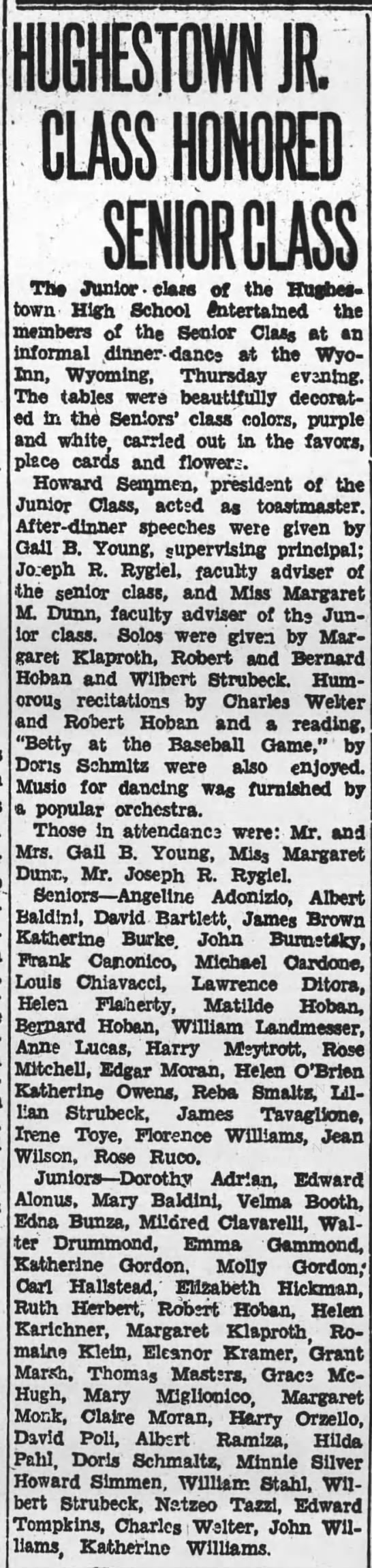 Pittston Gazette, 21 APR 1934, p. 3 - The Junior - class of the Hutnes - town High...