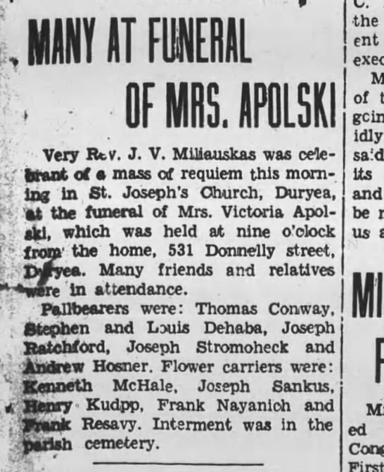 - 11Y IT FUNERAL , OF MRS. APOLSK Very Bv. J. V....