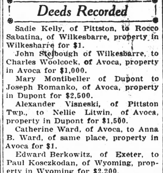 Deed - Deeds Recorded Sadie Kelly, of Pittston, to...