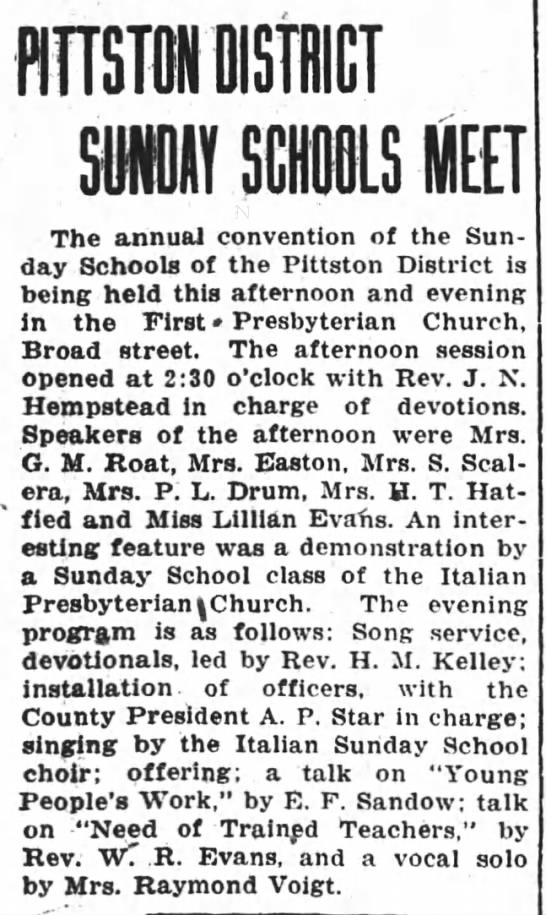 Pittston Gazette, 31 MAY 1923, p. 1 - T SU SCHOOLS MEET The annual convention of the...
