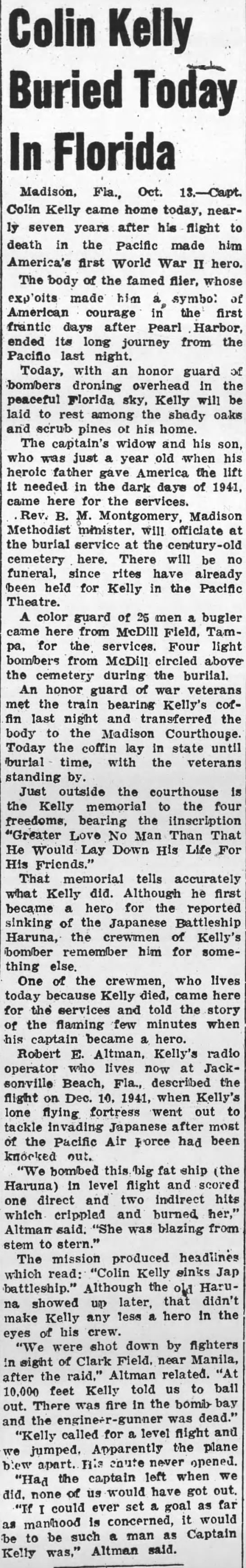 Pittston Gazette (Pittston, Pennsylvania) 13 October 1948  Page 1 - Colin Kellyv Buried Today In Florida Madison,...