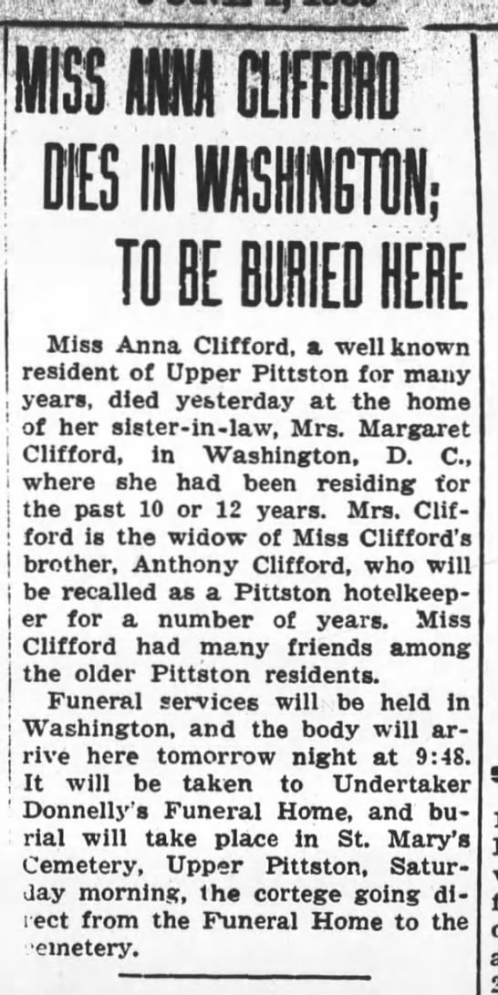 Miss Anna Clifford - MISS O CIIF10 TO BE BURIED HEBE Miss Anna...