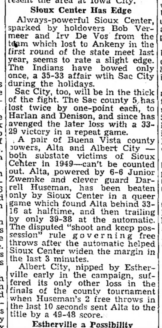 14 Feb 1950 - Bill Zwemke - Sioux Center Has Edge Always-powerful Sioux...