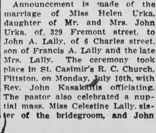 Lally/Urka wedding announcement - Announcement is made of the marriage of Miss...