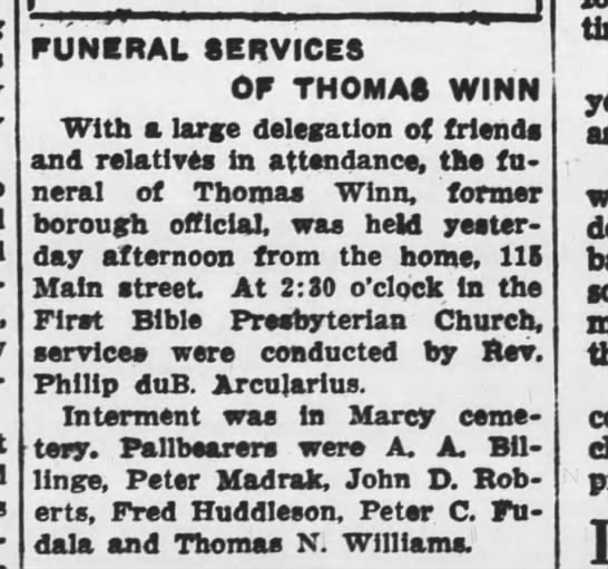 - FUNERAL SERVICES OF THOMAS WINN With a large...