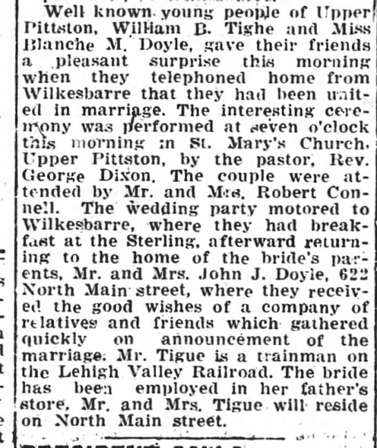 William Tighe - Blanche Doyle Married - Well known, young people of ITpperf Pittston,...