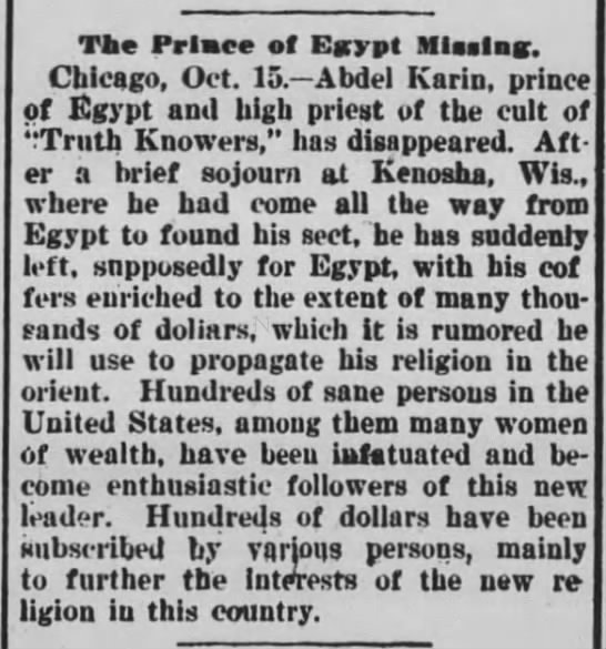 - The Prlatce of Egypt Mlaelnc. Chicago, Oct. 15....