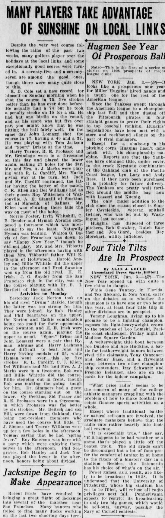 1928 Jan 3 H E Irish - Santa Cruz Evening News - Golfing - . -ra -ra MANY PLAYERS TAKE ADVANTAGE OF...