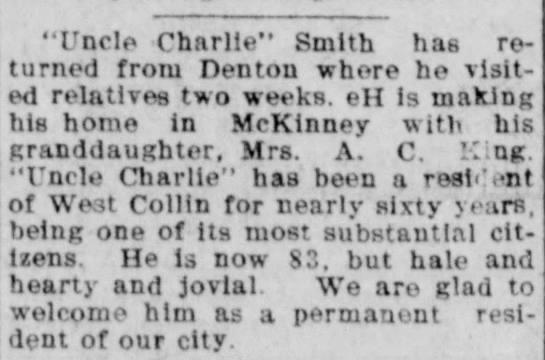"C. L. Smith move to McKinney - McKinney Weekly Democrat-Gazette - Dec. 9, 1909 - ""Uncle Charlie"" Smith has returned returned..."