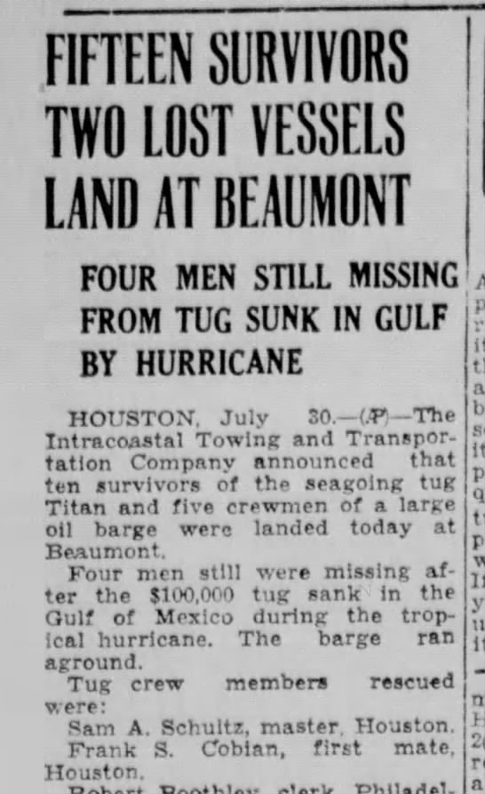 Frank S. Cobian?-Corsicana Daily Sun, TX-p.6-30 July 1943 - FIFTEEN SURVIVORS TWO LOST VESSELS LAND AT...