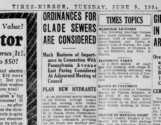 Albert Johnson, Erie RR accident - TIMES-MIRROE, TUESDAY, JUNE 9, 193» Value! ¡ It...