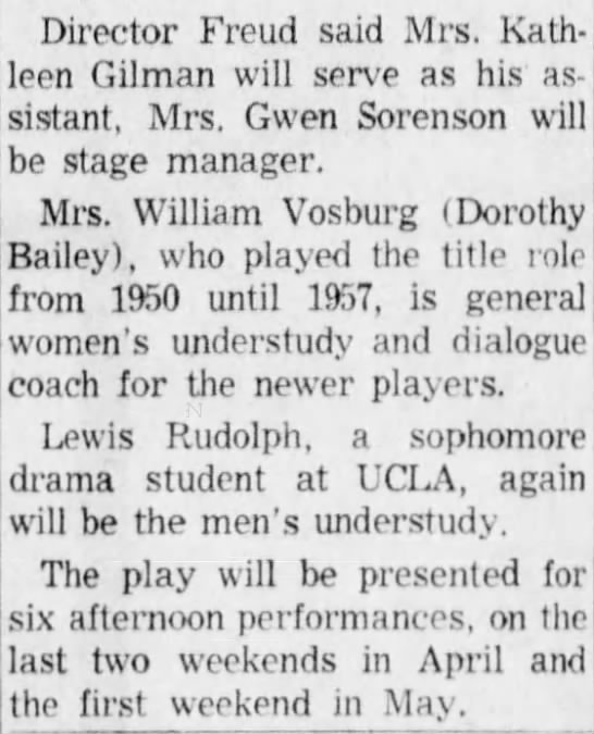 San Bernardino County Sun, 25 Feb 1960, Thu, Pg.18 - Director Freud said Mrs. Kathleen Kathleen...
