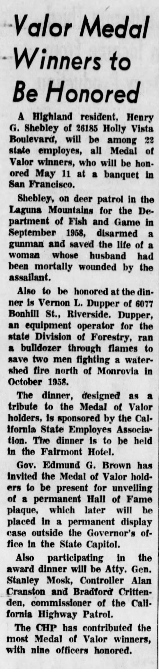 Valor Medal Winners to Be Honored  4/15/1963 - Valor Medal - Winners fo Be Honored A Highland...