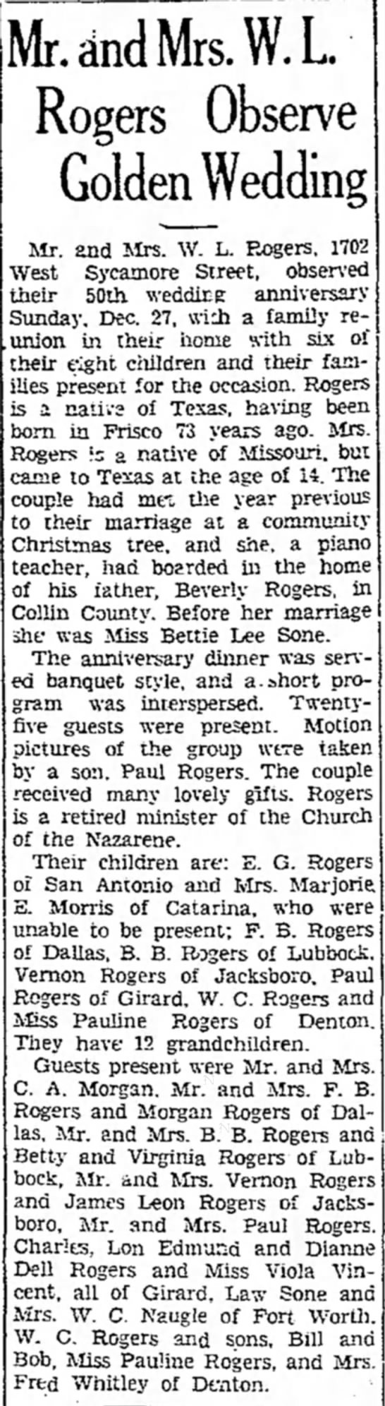 "W. L. ""Lonnie"" Rogers and wife - 50th anniversary - Denton Record-Chronicle -- Jan. 2, 1937 - cincl Mrs. W. L ^ Rogers Observe Golden Wedding..."
