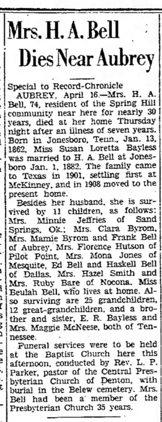 Bell, Susan L. [Bayless]-Obit