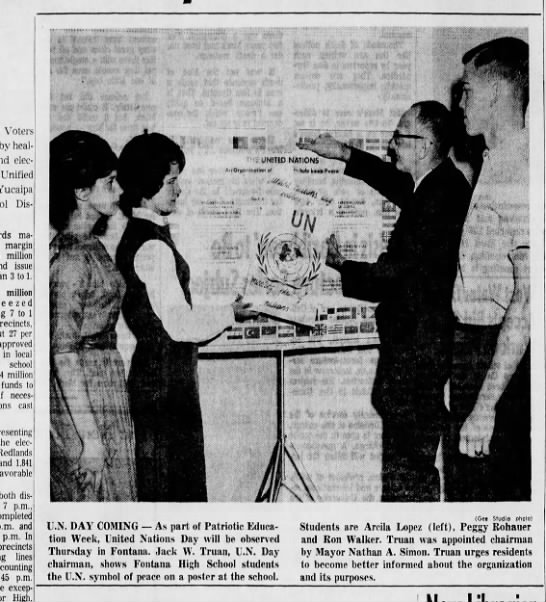 Jack Truan mentioned in U.N. Day with photo October 1963 - Voters by heal elections Unified Yucaipa...